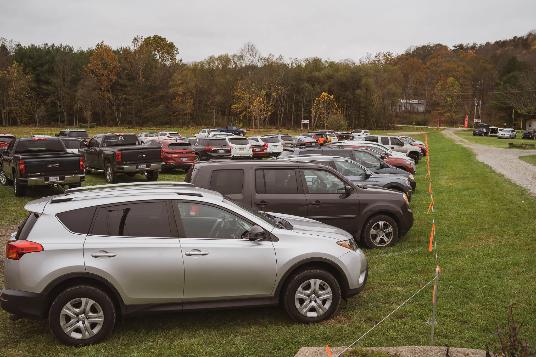 View of the parking area at the Glass Pumpkin Festival